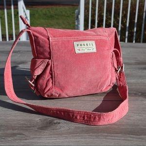 Fossil pink corduroy crossbody purse bag tote